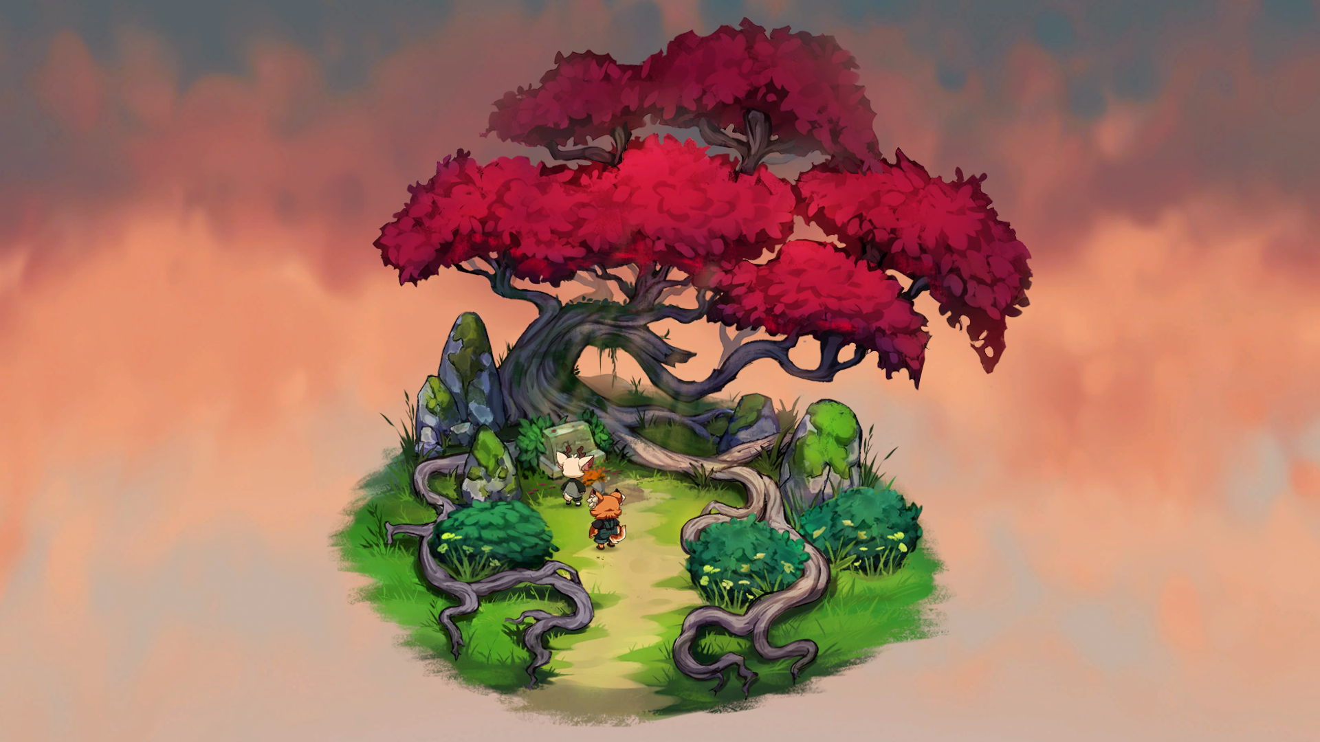Luka and Rolo at a mystical tree where Luka visits a grave.